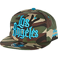 Khaki camo print Los Angeles trucker hat