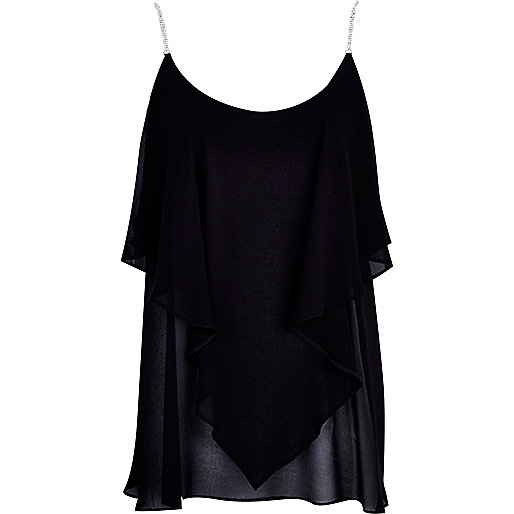 Black diamante strap layered cami top