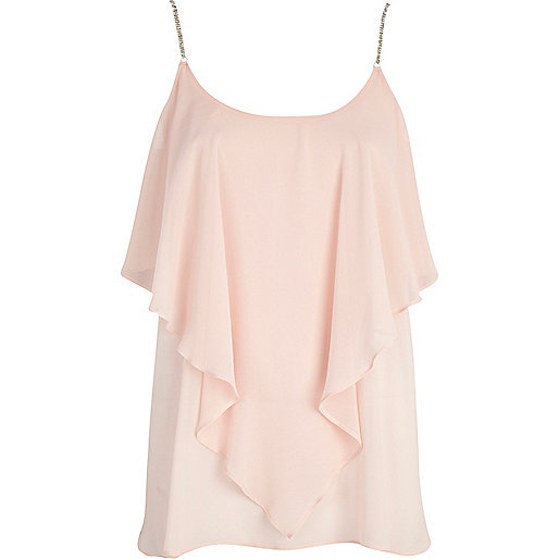 Light pink diamante strap layered cami top