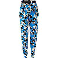 Blue floral print high waisted trousers