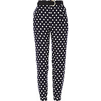 Navy polka dot high waisted trousers