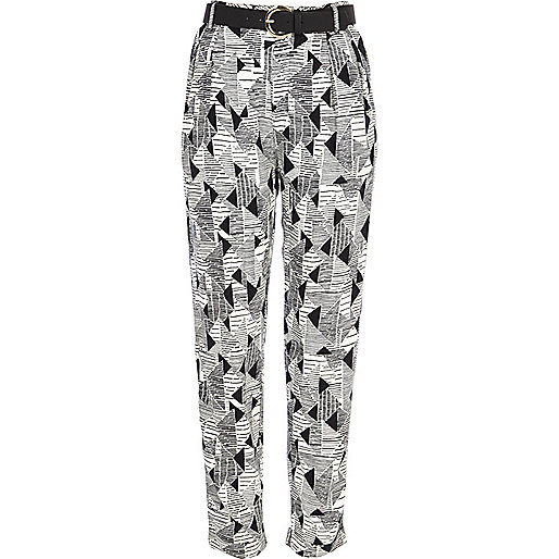Black geometric print high waisted trousers