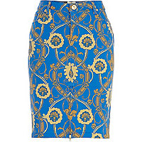 Blue vintage print pencil skirt