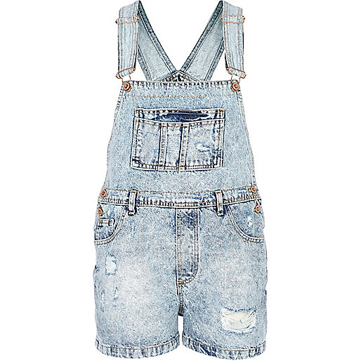 Light acid wash ripped denim dungarees