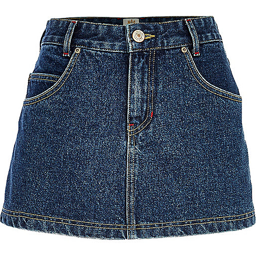 Dark wash denim skort