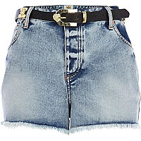 Light wash belted denim shorts