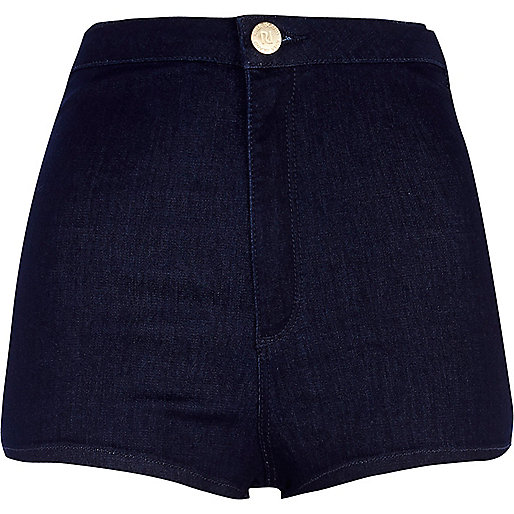 Dark wash high waisted tube shorts
