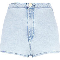 Light wash high waisted tube shorts