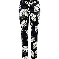 Black floral print smart trousers