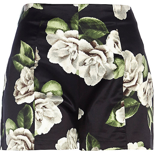 Black floral high waisted shorts