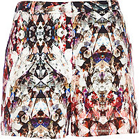 Pink kaleidoscope print high waisted shorts