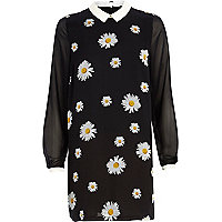 Navy daisy print contrast collar dress