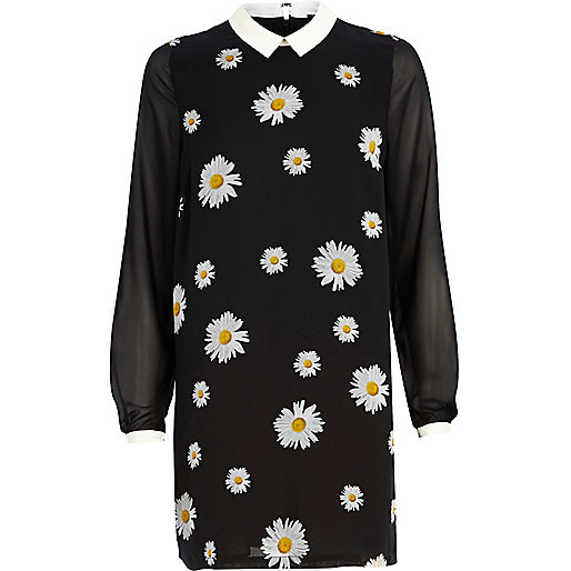 Black daisy print contrast collar dress