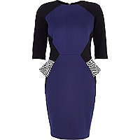 Navy colour block peplum dress