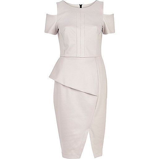 Light grey cold shoulder pencil dress
