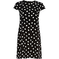 Black polka dot print swing dress