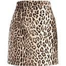 Brown leopard print faux fur mini skirt