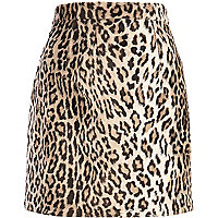 Brown leopard print faux fur mini skirt