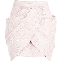 Pink draped tulip mini skirt