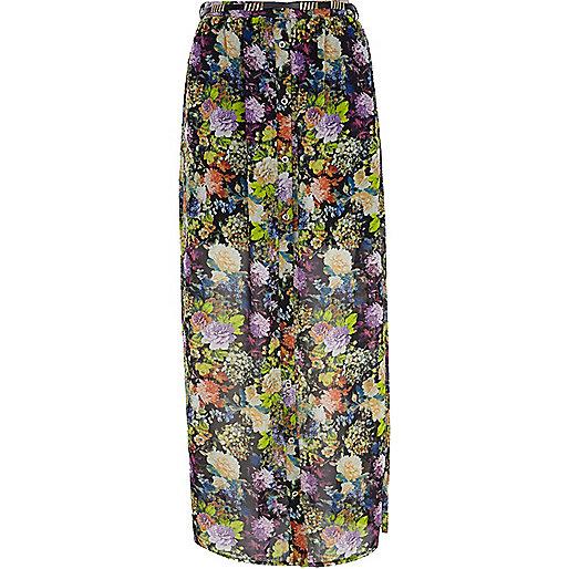 Black floral button through maxi skirt