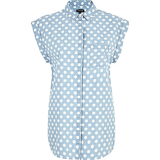Light wash polka dot roll sleeve denim shirt