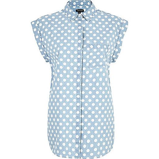 denim spotty shirt
