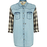 Light denim Chelsea Girl check sleeve shirt