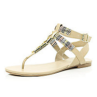 Light pink metal bracelet sandals