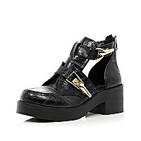Black croc chunky buckle cut out boots