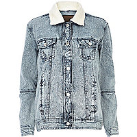 Light acid wash borg collar denim jacket