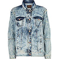 Light acid wash denim jacket