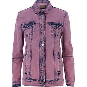Pink acid wash denim jacket