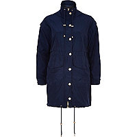 Navy smart anorak jacket