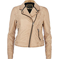 Beige zipped collar biker jacket