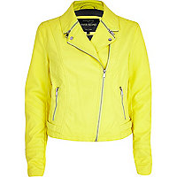 Bright yellow zipped collar biker jacket