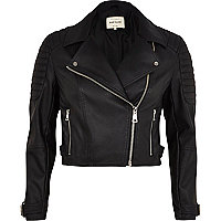 Black quilted cropped biker jacket