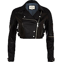 Black croc panel cropped biker jacket