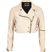 Cream croc panel cropped biker jacket
