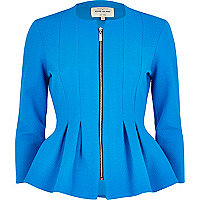 Blue textured jersey peplum jacket
