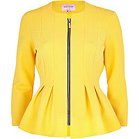Yellow textured jersey peplum jacket