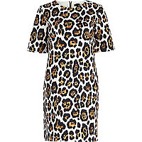 Brown graphic animal print shift dress