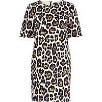 Brown graphic animal print shift dress