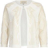 Beige geometric beaded cropped jacket