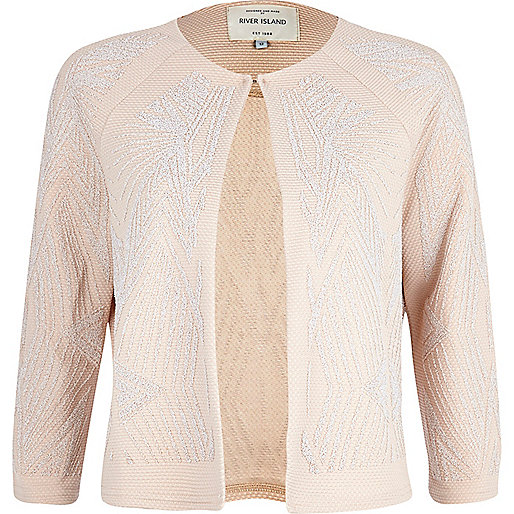 Pink geometric beaded cropped jacket