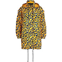 Orange graphic leopard print parka jacket