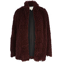 Dark red faux fur jacket