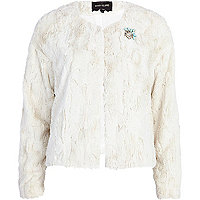 Cream faux fur brooch jacket