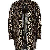Gold leopard print jacquard coat