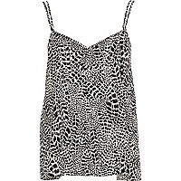 Black animal print V neck cami top