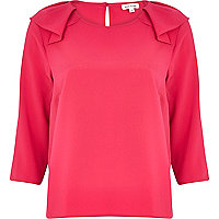 Pink frill shoulder blouse